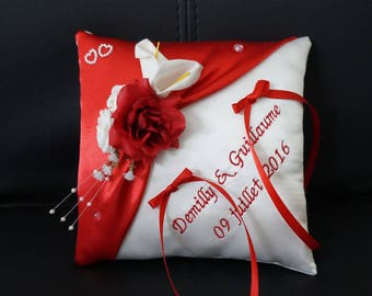 custom red and white cushion