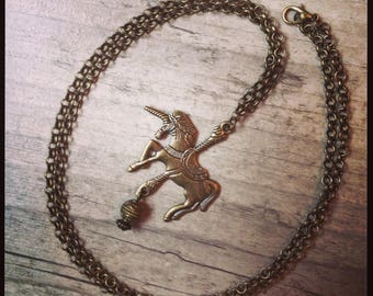 """Unicorn"" with vintage inspired bronze long necklace"