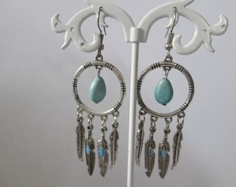 hoop earrings and turquoise beads