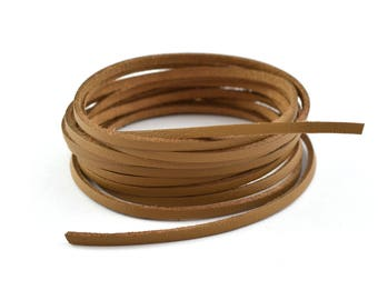Cord flat leather 3mm brown suede