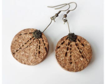 Handmade Recycled Cork Earrings. Made to order.