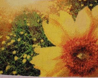 Cross Stitch Finished Sunflower Field