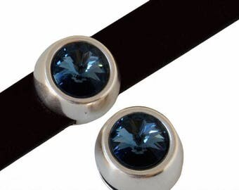 Bead loop Element - for 10mm flat leather - silver and Swarovski Denim Blue
