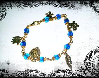 Blue Crackle Crystal beaded bracelet