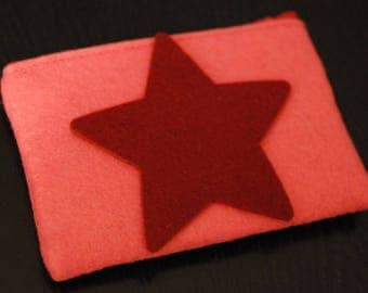Pink felt pouch & star