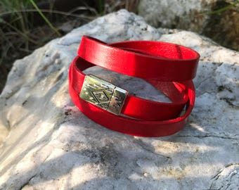 Red 7 -  7.5 inch leather wrap bracelet #14