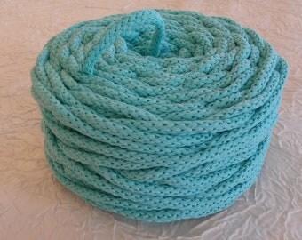 Cotton cord. Twisted cotton cord. Cotton rope. Corde macramé bleu aiguemarine . Bobine de cordon tressé 6 mm en coton 100 %. 50 m.