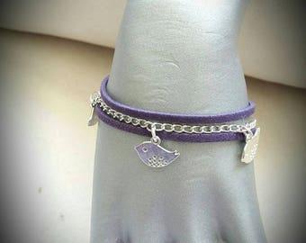 Purple string birds cord bracelet