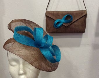 CLUTCH WEDDING SISAL TAUPE AND TURQUOISE
