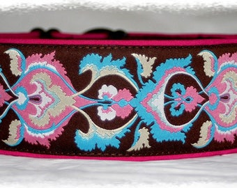 Dog collar Jacquard ribbon with unique colourful ornaments, Elegant design for Pet accessories