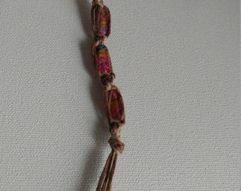 Spiral hemp key chain with pink cylinder beads