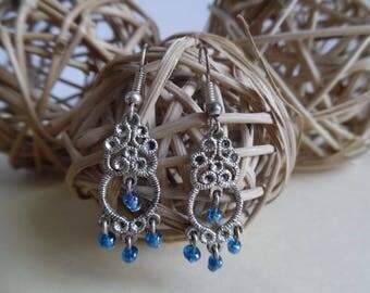 Blue Oriental dangle earrings