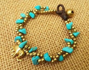 Turquoise Bracelet, Beaded turquoise bracelet, Brass Bracelet, Bohemian Bracelet