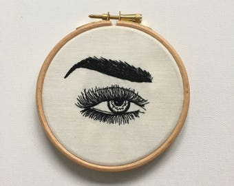I SPY // Hand Embroidered Eye In Wooden Embroidery Hoop