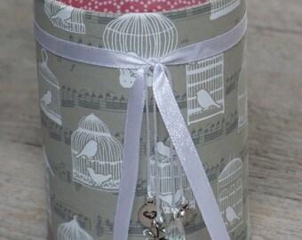 Pencil holder (No. 146) birdcage (gray & pink)