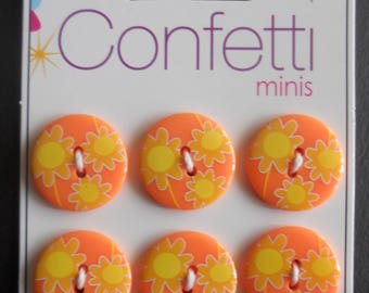 6 buttons CONFETTI ref 7009 -, yellow flowers on orange background