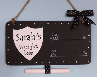 Personalised Weight Loss Plaque Sign, Chalkboard Countdown, Polka Dot, Shield Shape