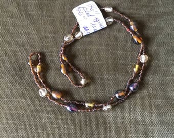 Brown Seed bead necklace.