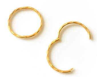 9ct Gold on Sterling Silver Sleeper Hoop Earrings Hinged Diamond Cut 10mm 13mm 16mm