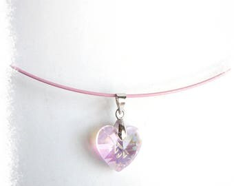 Pink Crystal heart pendant necklace