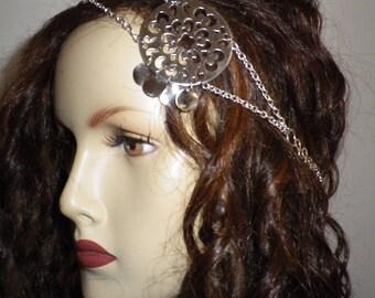 "Gypsy headband ""Sara"" silver metal filigree and sequins"
