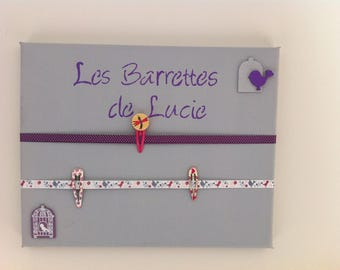 Picture holder clips - gray and purple - the Lucie barrettes - to customize