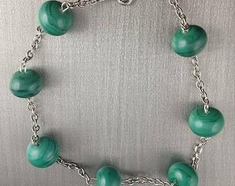 Glass bracelet. Lampwork Glass Beads
