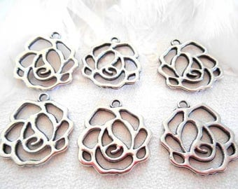 long about 6 flowers filigree silver metal