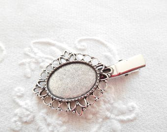 Support cabochon metal hair clip silver antique 25 x 18 mm oval.