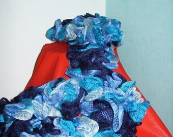 Fancy woolen Pompom scarf multicolor shades of blue