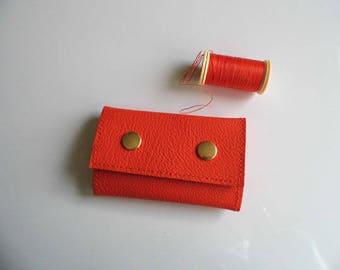 Genuine leather Keychain orange abircot