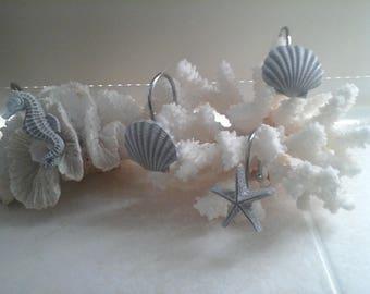 Handpainted 12pcs grey seaworld,sealife(shell,seastar,seahorse)shower curtain rings/hooks birthday housewarming Valentines gift for him her