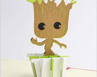 Handmade 3D popup pop up origami papercraft art Guardians of the Galaxy Groot tree man birthday Valentine's day father's day greeting card