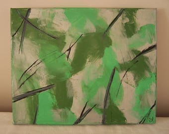 Original acrylic painting: transparent green, decorative pattern