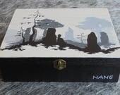 Outlander jewelry box, wooden Outlander jewelry box, hand-painted wooden jewelry box, wooden box, storage of jewelery and costume jewelery