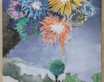 "Watercolor ""Fireworks"""
