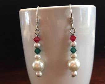 Christmas Dangle Earrings, Christmas Earrings, Xmas Earrings, Dangle Earrings, Pearl Earrings