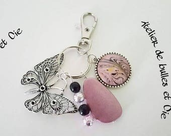Butterfly Keychain pink black and silver