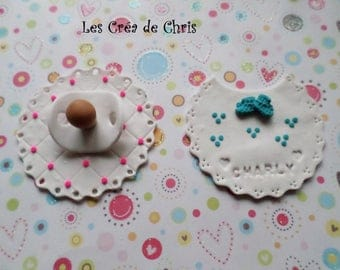 fully customizable baptism Fimo decoration.