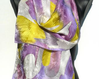 Scarf - silk scarf painted hand - created crepe-satin - yellow, white, pink