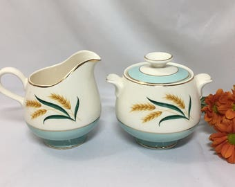 Creamer and Sugar Bowl - Viking Wheat by DS International 1950's