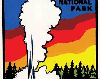 Vintage Style Yellowstone   Old Faithful geyser  Montana    National Park   Travel Decal sticker