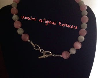 Simple Choker necklace pink grey