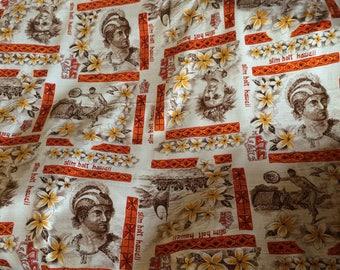 Hawaiian cotton bark cloth vintage aloha fabric - Slim Holt design
