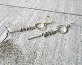 Silver Earring, ear enameled grey/silver chain
