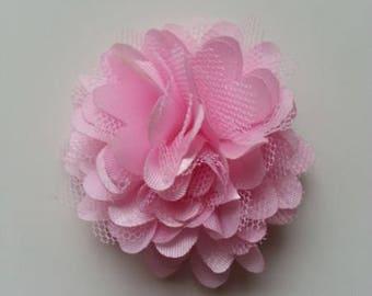 rosette  fleur  satin et tulle rose pale    50mm