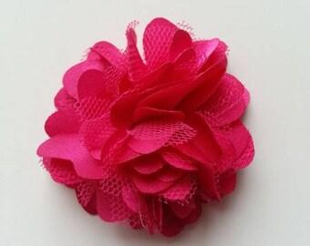 rosette  fleur  satin et tulle rose fuchsia    50mm