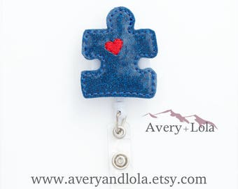 Puzzle Piece Badge Reel, Autism Awareness Badge Reel, Puzzle Piece Badge Reel, ID Holder, ID Badge Holder, Nurse Gift, Teacher Gift