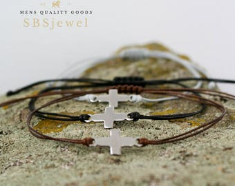 TINY CROSS BRACELET Mens Small Cross Bracelet Cross Jewelry Small Sideways Cross Christian Cross Cross Bracelet Mens Cross Bracelet Thin