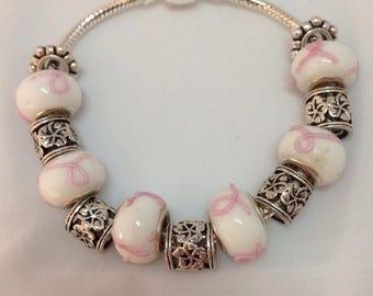 Pretty in Pink Handmade Charm Bracelet for her / Lampwork Murano Glass Beads